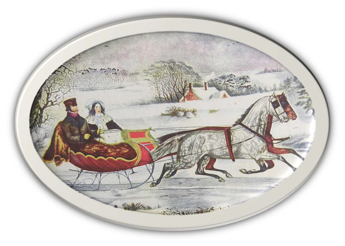 currier&ives painting sleigh ride