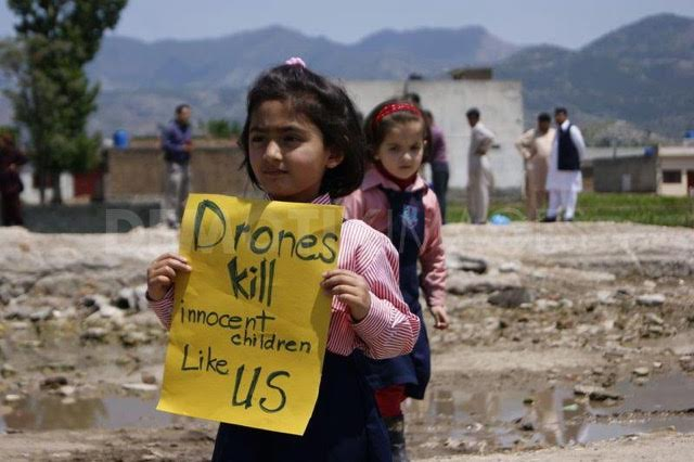 girl with drones sign